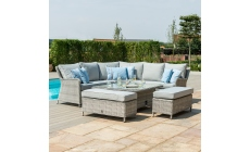Oyster Bay - Square Royal Corner Bench Set In Grey Rattan