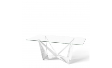 Glacier - 200cm Dining Table Glass Top Polished Stainless Steel Base