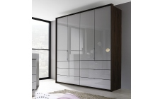 Akita  - 254cm 5 Door/9 Drawer Wardrobe 1 Mirror Door In Colour/Mirror Glass Front