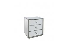 Sofia - 3 Drawer Bedside Chest  Mirrored