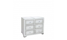 Bianca - 6 Drawer Wide Chest Mirrored Silver & White