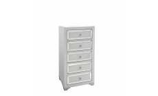Bianca - 5 Drawer Tall Boy Mirrored Silver & White