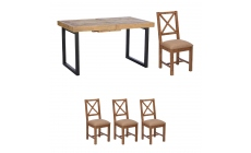 Delta - 140cm Extending Dining Table & 4 Upholstered Chairs
