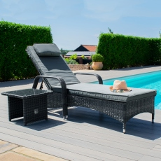 Nassau - Sunbed with FREE Side Table Grey Rattan