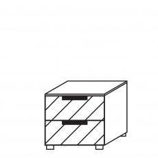 Malmo - 2 Drawer Bedside Black Glass Front/Top