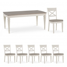 Chateau - 180cm Extending Table & 6 X Back Chairs In Grey Washed Oak & Soft Grey