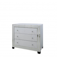 3 Drawer Cabinet White Clear & Mirror Finish - Madison