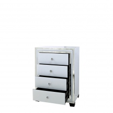 4 Drawer Cabinet White Clear & Mirror Finish - Madison
