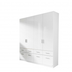 Amalfi - 4 Door 8 Drawer Hinged Combi Robe Height 210cm In Alpine White With White High Gloss Front