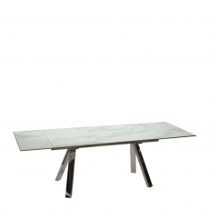 Cantania - 160cm Extending Dining Table With White Marble Ceramic Top