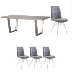 Amarna - 200cm Dining Table And 4 Dalton Chairs
