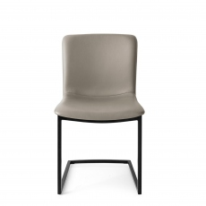 Calligaris Annie - CS/1853-LH Dining Chair In D04 Taupe Leather With P15 Matt Black Frame