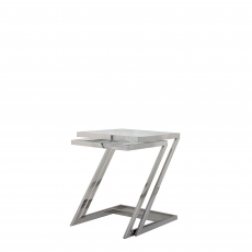 Trento - Nest Of Two Z Tables With Clear Glass Top/Stainless Steel Legs