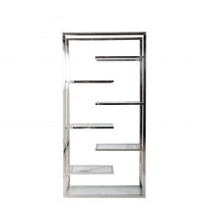 Trento - Tall Bookshelf In Clear Glass/Stainless Steel