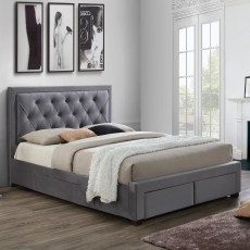 Lumbar - Slatted Storage Bedframe In Grey Fabric Double - 149 x 239.5cm
