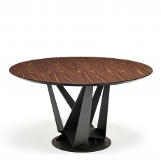 Cattelan Italia Skorpio Round - Dining Table With Black Legs & Walnut Top