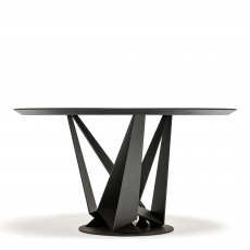 Cattelan Italia Skorpio Round - Dining Table With Black Legs & Burned Oak Top 180cm