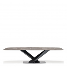 Cattelan Italia Stratos Keramik - D End Dining Table With Black Legs & Ceramic Top 300cm