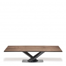 Cattelan Italia Stratos Wood - Dining Table With Black Legs & Walnut Top 300 x 120cm