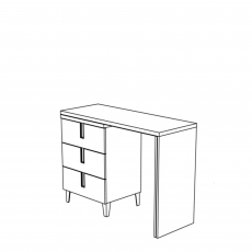 Venice - Vanity Dresser With Drawers High Gloss Cream Lacquer