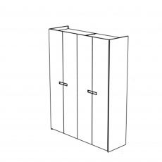 Venice - 4 Door Hinged Wardrobe High Gloss Cream Lacquer