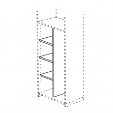 Venice - 172cm Low Dividing Panel With 3 Shelves For 2 Door Module
