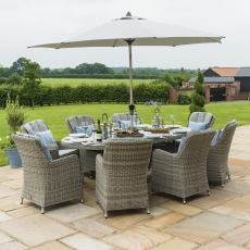 Oyster Bay - 8 Seat Oval Garden Dining Set with Ice Bucket - Light Grey