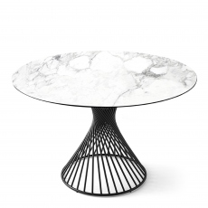 Calligaris Vortex - CS/4108-RD 140cm  Ø Dining Table With White Marble Top And Matt Black Frame
