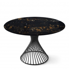 Calligaris Vortex - CS/4108-RD 140cm ? Dining Table With Black Marble Top And Matt Black Frame