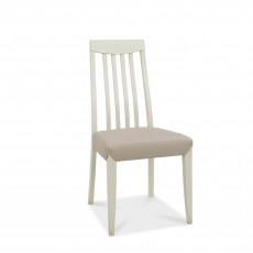 Bremen - Tall Slat Back Dining Chair In Washed Grey With Grey Bonded Leather
