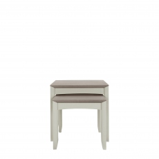 Bremen - Nest Of Lamp Tables In Grey Washed Oak With Soft Grey Finish
