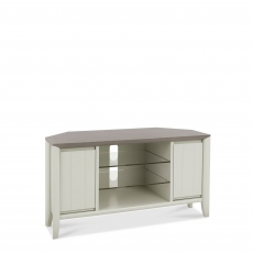 Bremen - Corner Entertainment Unit In Grey Washed Oak With Soft Grey Finish
