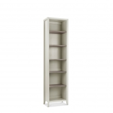 Bremen - Narrow Bookcase In Grey Washed Oak With Soft Grey Finish