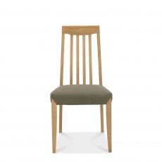 Bremen - Tall Slat Back Dining Chair In Oak Finish With Black Gold Fabric