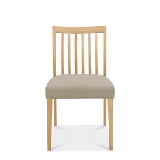 Bremen - Low Slat Back Dining Chair In Oak Finish With Black Gold Fabric