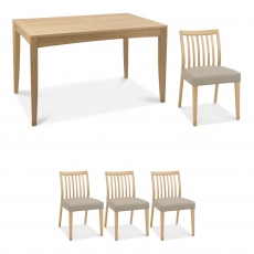 Bremen - 130cm Extending Dining Table In Oak Finish & 4 Low Slat Back Chairs In Grey Bonded Leather
