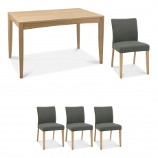 Bremen - 130cm Extending Dining Table In Oak Finish & 4 Upholstered Chairs In Black Gold Fabric