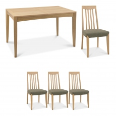 Bremen - 130cm Extending Dining Table In Oak Finish & 4 Slat Back Chairs In Black Gold Fabric