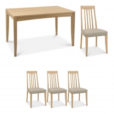 Bremen - 130cm Extending Dining Table In Oak Finish & 4 Slat Back Chairs In Grey Bonded Leather