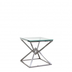 Rhombus - End Table With Clear Glass Top Stainless Steel Frame