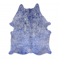 Cowhide Rug Blue Metallic