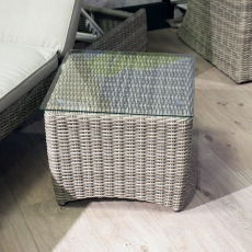 Oyster Bay - Side Table Light Grey Rattan