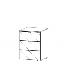 Akita  - 40cm 3 Drawer Bedside Table With Coloured Glass Front