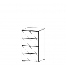 Akita  - 40cm 4 Drawer Narrow Chest With Coloured Glass Front