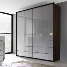 Akita  - 254cm 5 Door/6 Drawer Wardrobe 1 Mirror Door In Colour/Mirror Glass Front