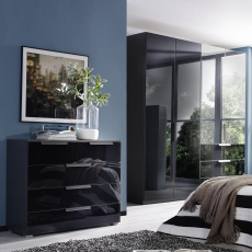 Nova  - 201cm 4 Door/3 Drawer Wardrobe With Coloured/Mirrored Glass Front