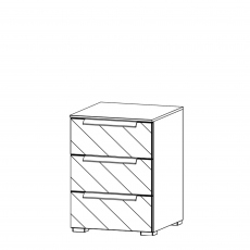 Nova - 40cm 3 Drawer Bedside Table With Coloured Glass Front