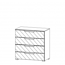 Nova - 80cm 4 Drawer Wide Chest With Mirrored Glass Front