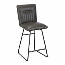 Copper - Bar Stool In Grey PU Leather