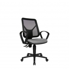 Ergo - Swivel Armchair With Mesh Backrest In G230 Grey